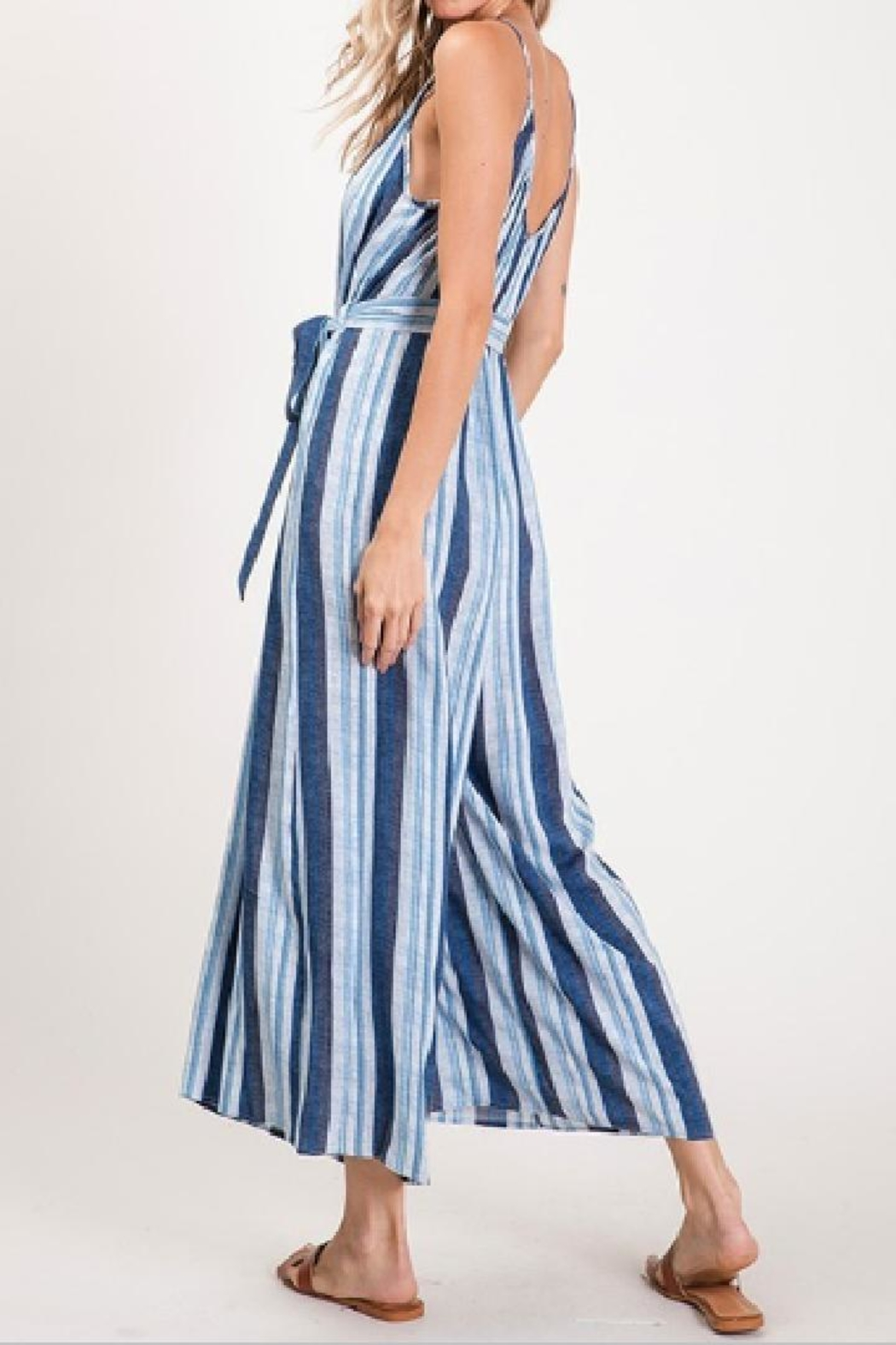 CY Fashion Blue Striped Jumpsuit - Front Full Image