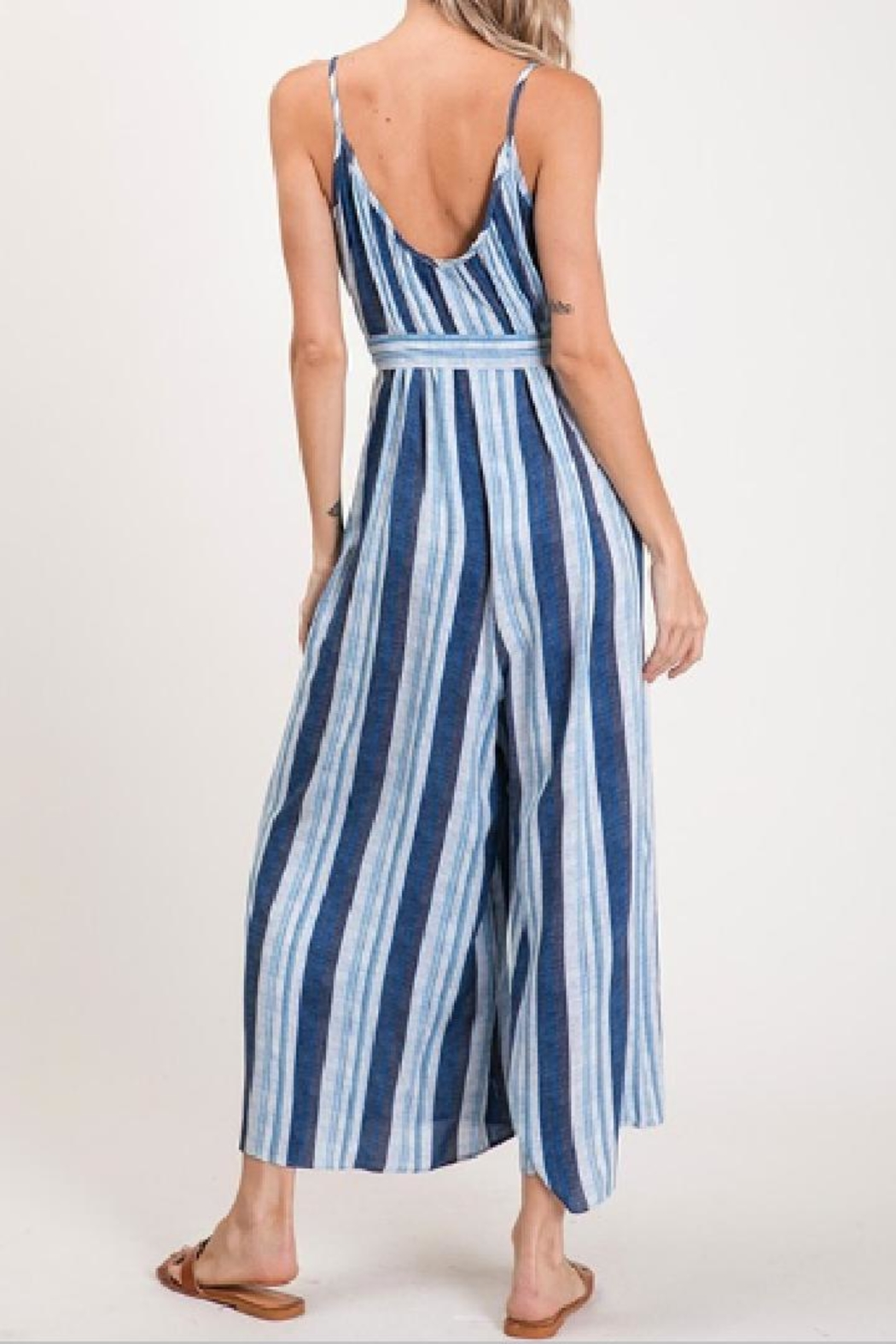 CY Fashion Blue Striped Jumpsuit - Side Cropped Image