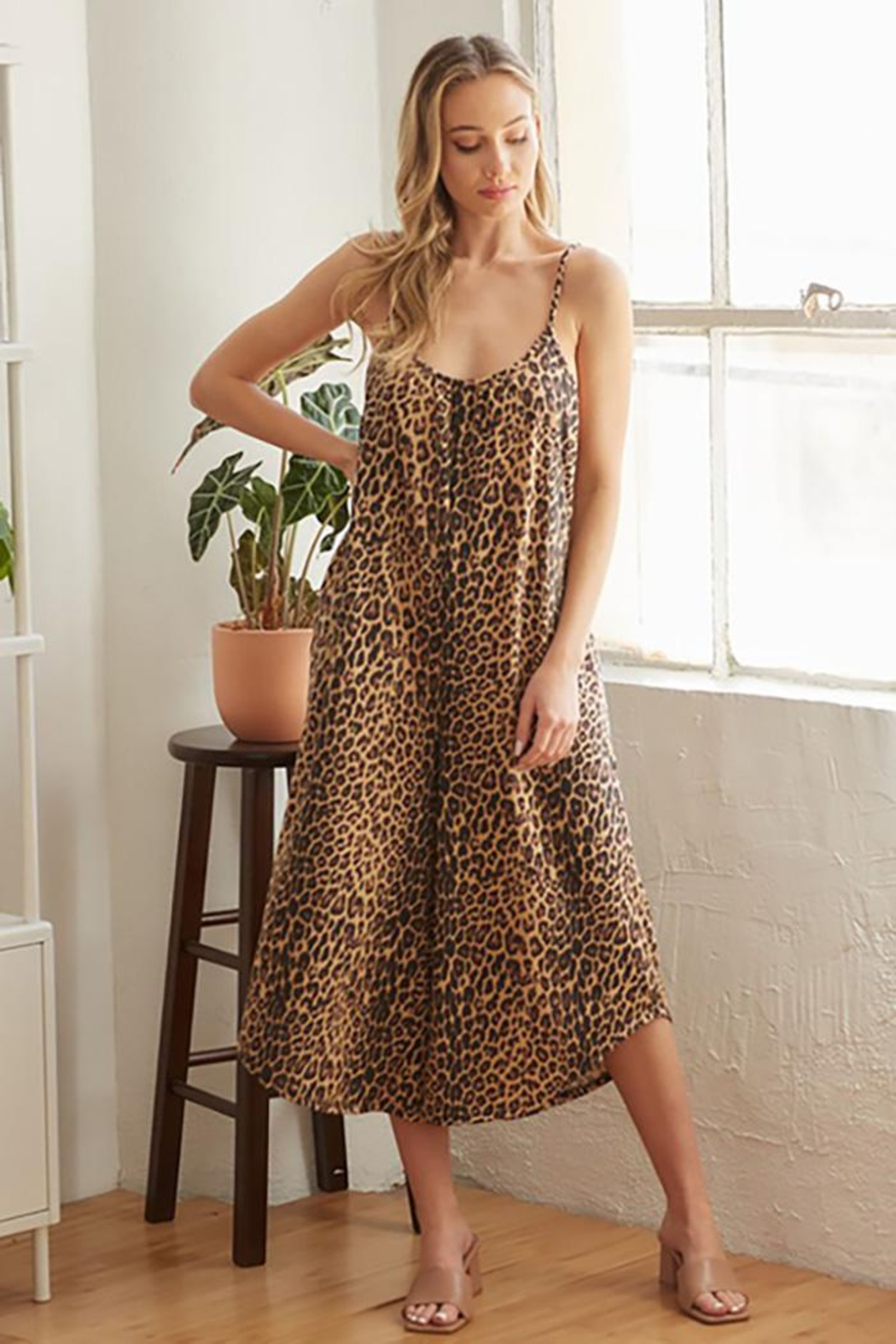 CY Fashion Cheetah Print Romper With Spaghetti Straps - Main Image