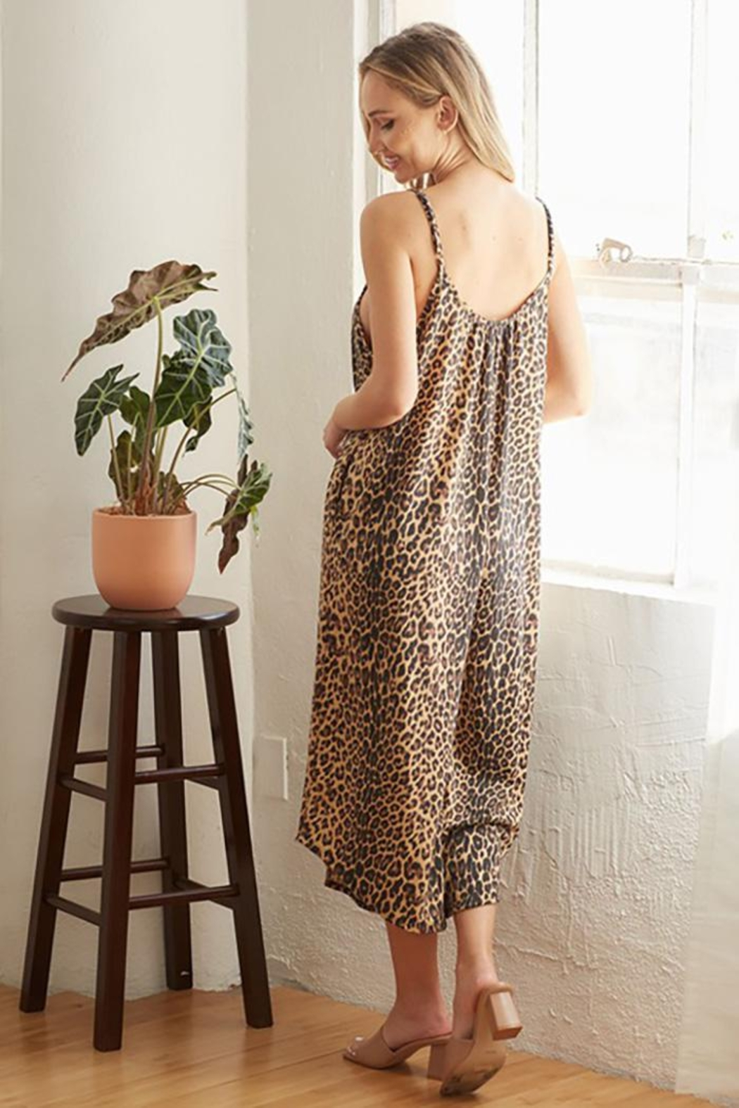 CY Fashion Cheetah Print Romper With Spaghetti Straps - Front Full Image