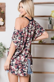 CY Fashion Cold Shoulder Camo Half Sleeve Top - Front full body
