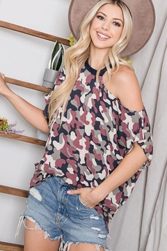 CY Fashion Cold Shoulder Camo Half Sleeve Top - Product List Image