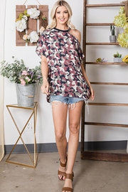 CY Fashion Cold Shoulder Camo Half Sleeve Top - Back cropped
