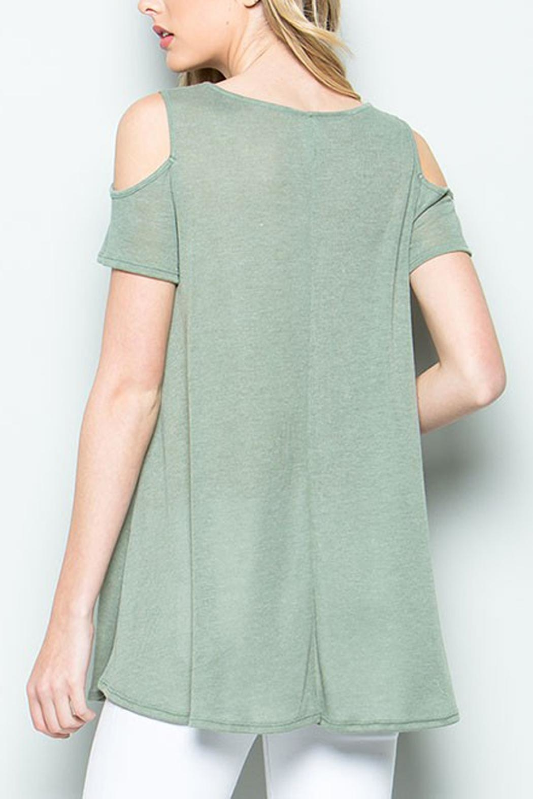 CY Fashion Cold Shoulder Top - Back Cropped Image