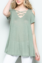 CY Fashion Cold Shoulder Top - Front cropped