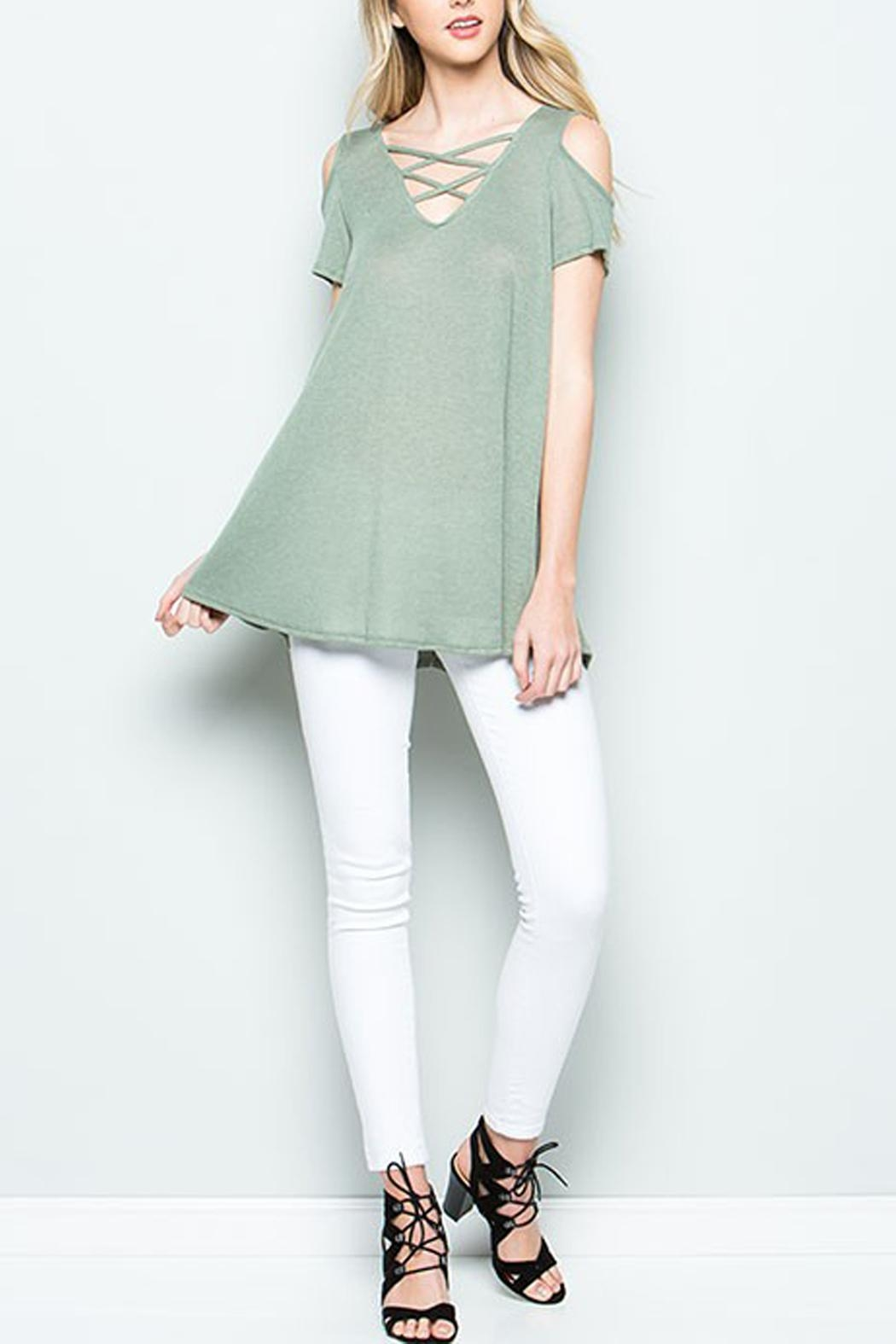 CY Fashion Cold Shoulder Top - Side Cropped Image