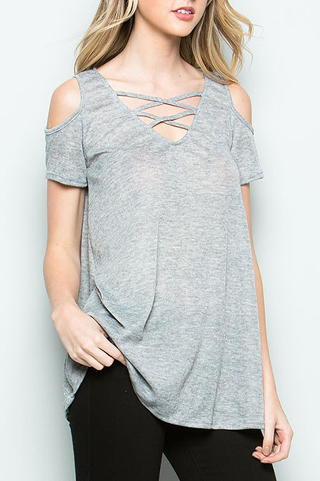 CY Fashion Cold Shoulder Top - Front Full Image