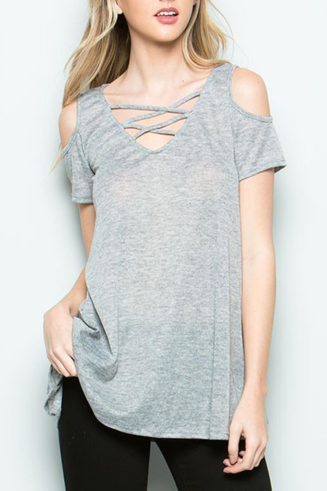 CY Fashion Cold Shoulder Top - Front Cropped Image