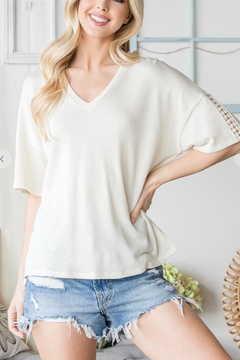 CY Fashion Crochet Detail Short Sleeve Top - Product List Image