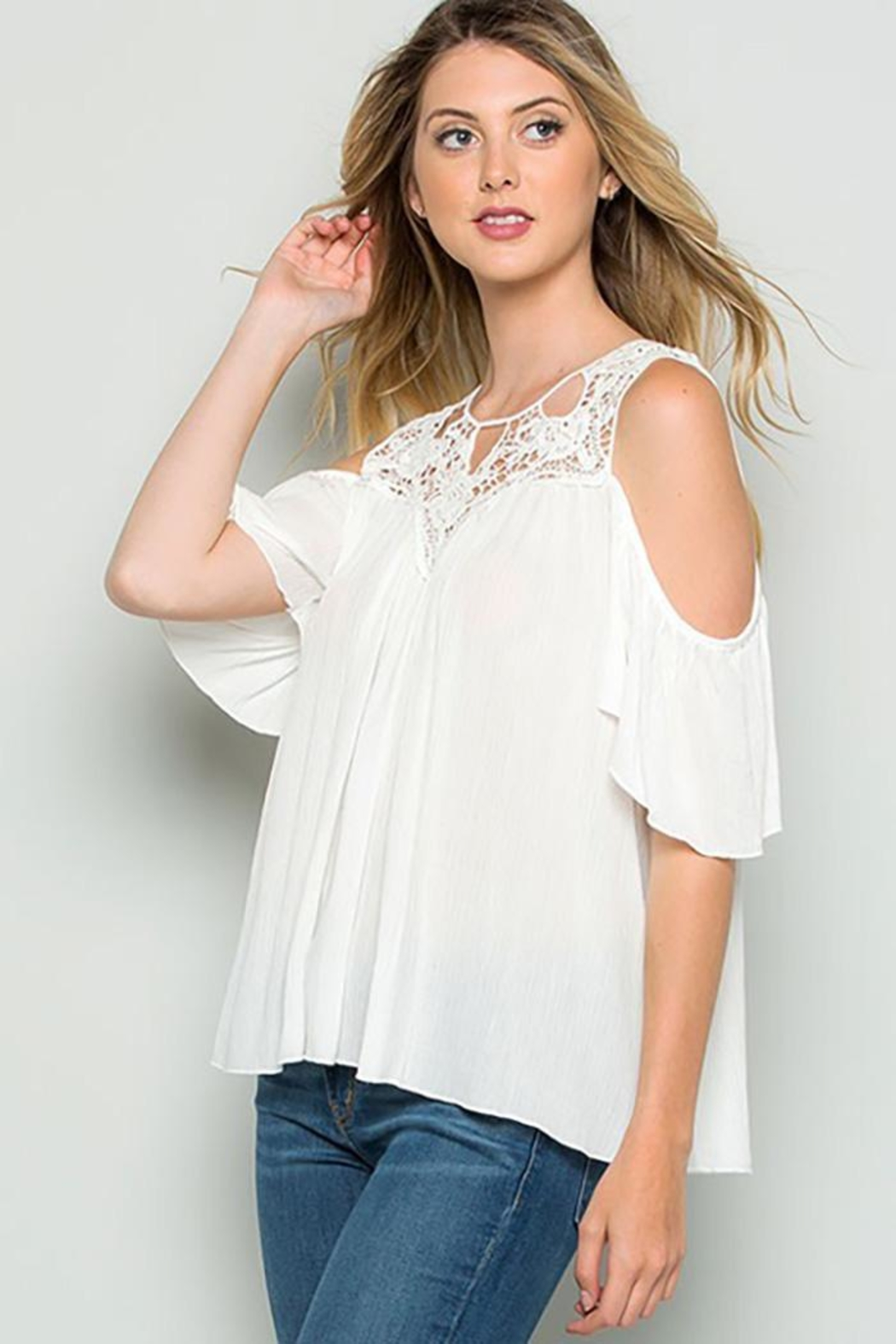 CY Fashion Crochet Lace Detail Cold Shoulder Top - Front Full Image