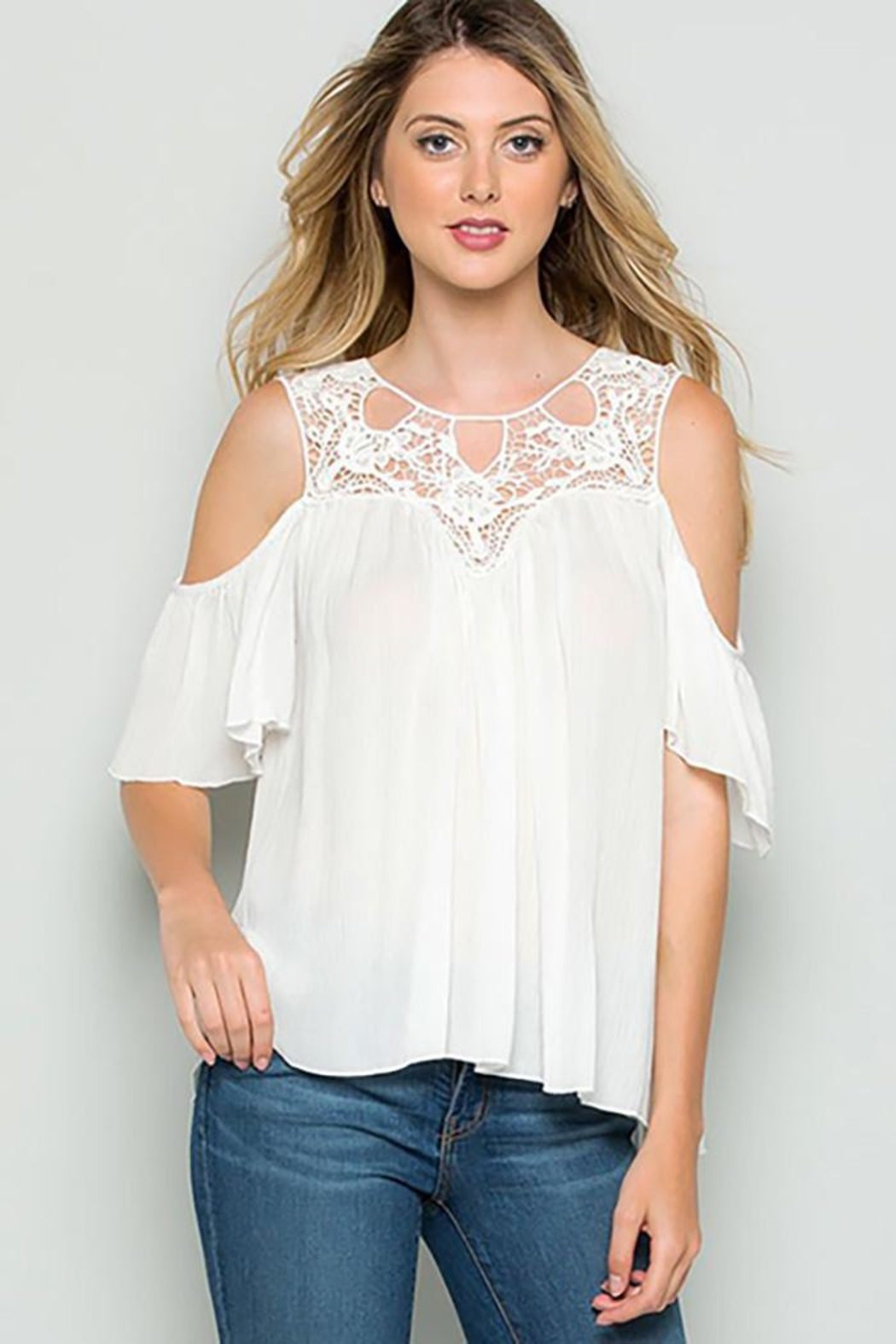 CY Fashion Crochet Lace Detail Cold Shoulder Top - Main Image