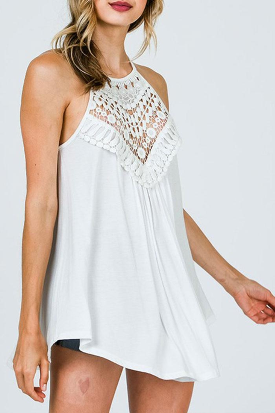 CY Fashion Crochet Lace Detail Tank Top - Front Cropped Image