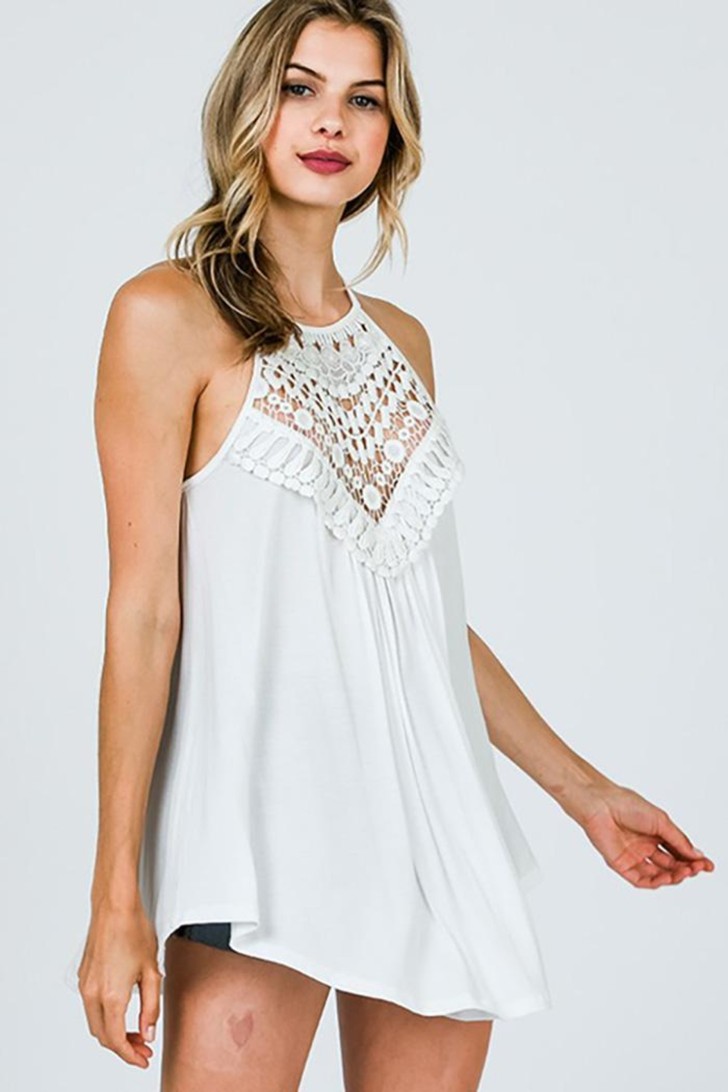 CY Fashion Crochet Lace Detail Tank Top - Main Image