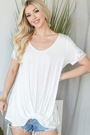 CY Fashion Crochet Lace Detail Top With Knob - Product Mini Image