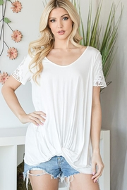 CY Fashion Crochet Lace Detail Top With Knob - Other