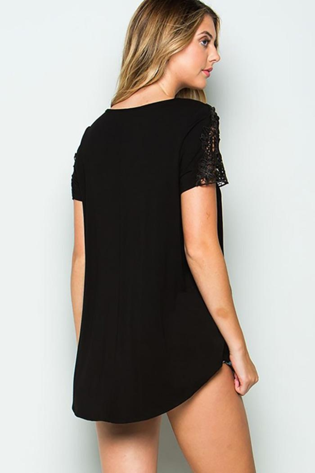 CY Fashion Crochet Lace Detail Top With Knob - Front Full Image