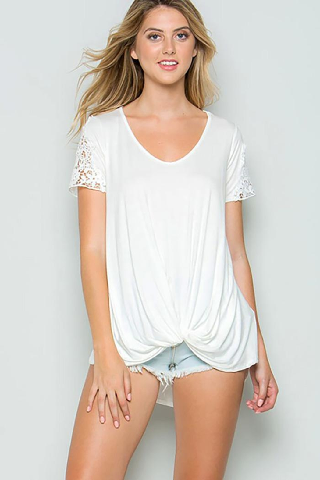 CY Fashion Crochet Lace Detail Top With Knob - Main Image
