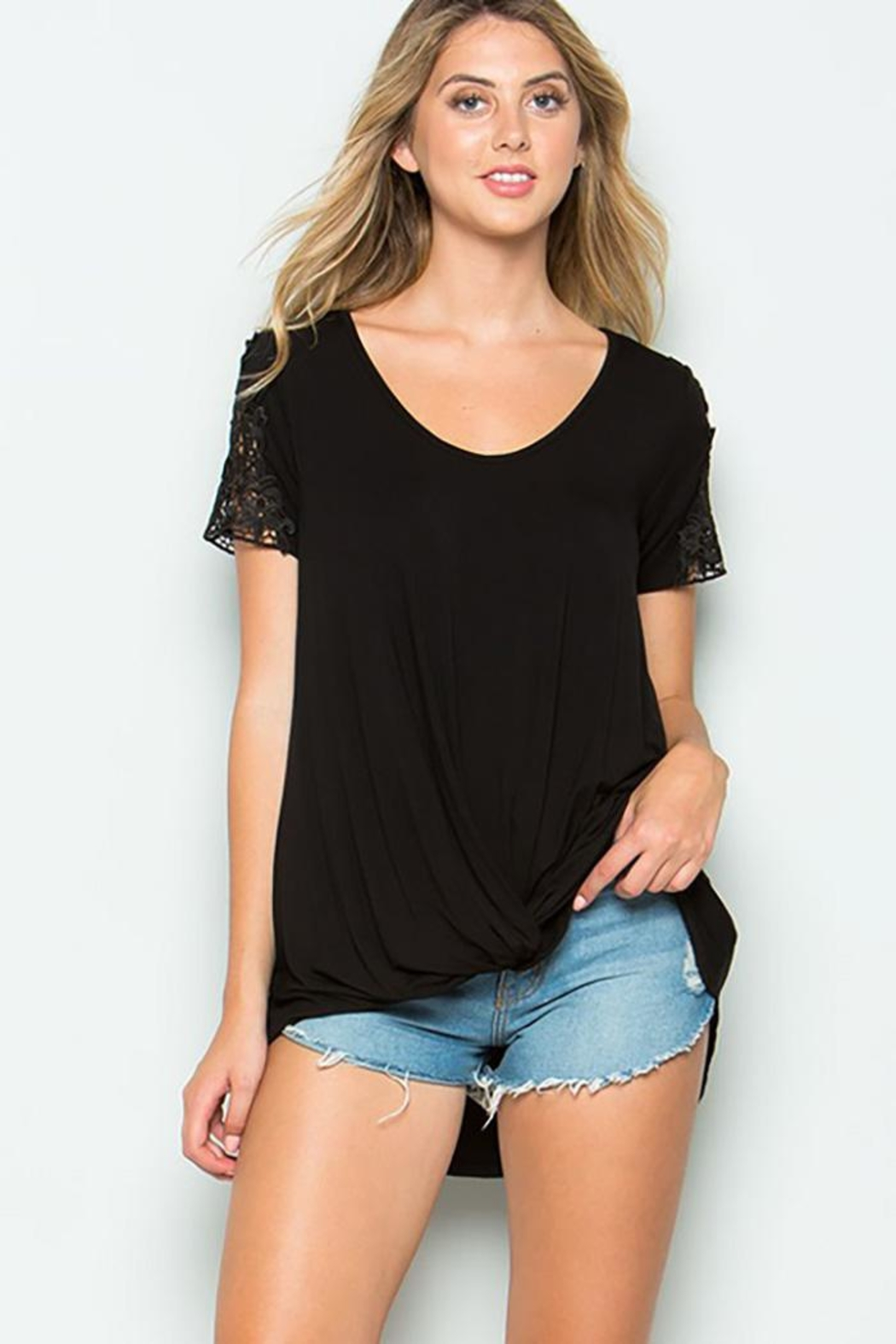 CY Fashion Crochet Lace Detail Top With Knob - Front Cropped Image