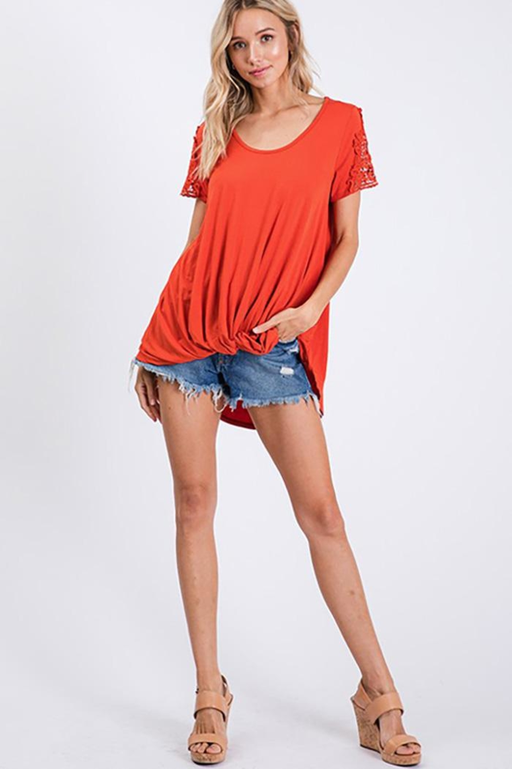 CY Fashion Crochet Lace Detail Top With Knob - Back Cropped Image