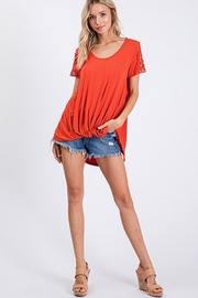 CY Fashion Crochet Lace Detail Top With Knob - Back cropped
