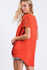 CY Fashion Crochet Lace Detail Top With Knob - Side cropped