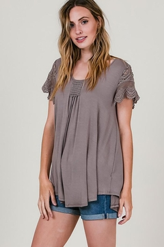 CY Fashion Crochet Lace Sleeves Top Smock Detail - Alternate List Image