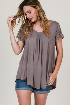 CY Fashion Crochet Lace Sleeves Top Smock Detail - Product List Image