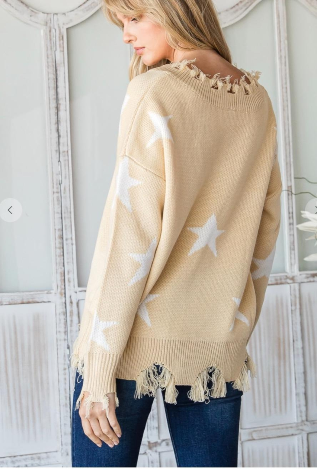 CY Fashion Distressed Knit Sweater - Side Cropped Image