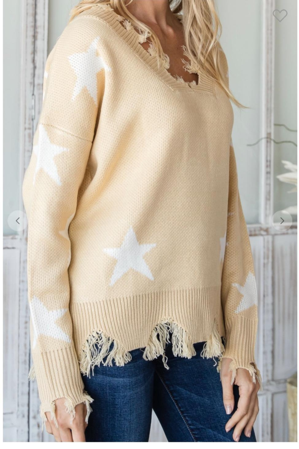 CY Fashion Distressed Knit Sweater - Front Full Image