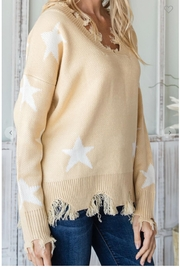 CY Fashion Distressed Knit Sweater - Front full body