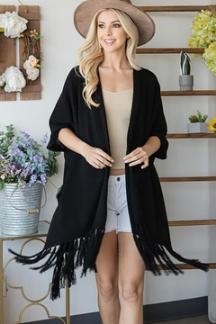 CY Fashion Draped Poncho Cardigan With String Detail - Product List Image