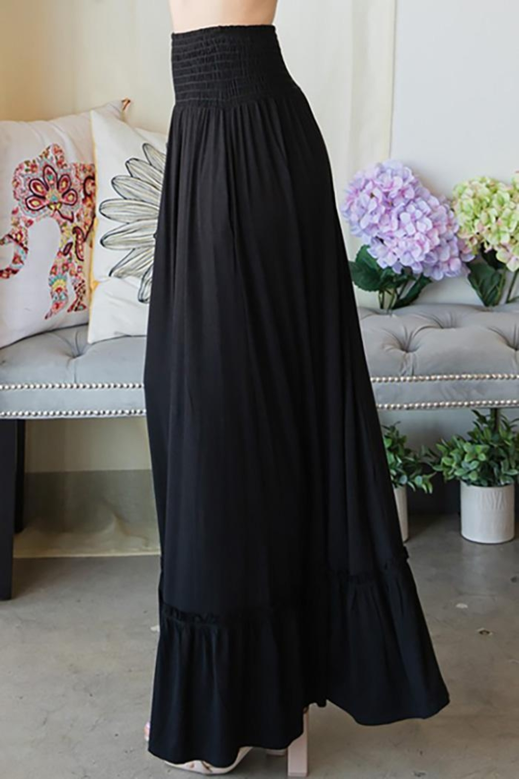 CY Fashion Elastic Waist Tiered Skirt - Front Full Image