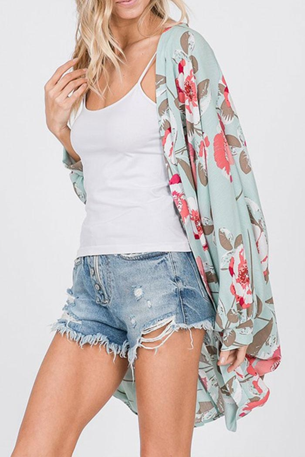 CY Fashion Floral Open-Front Cardigan - Side Cropped Image