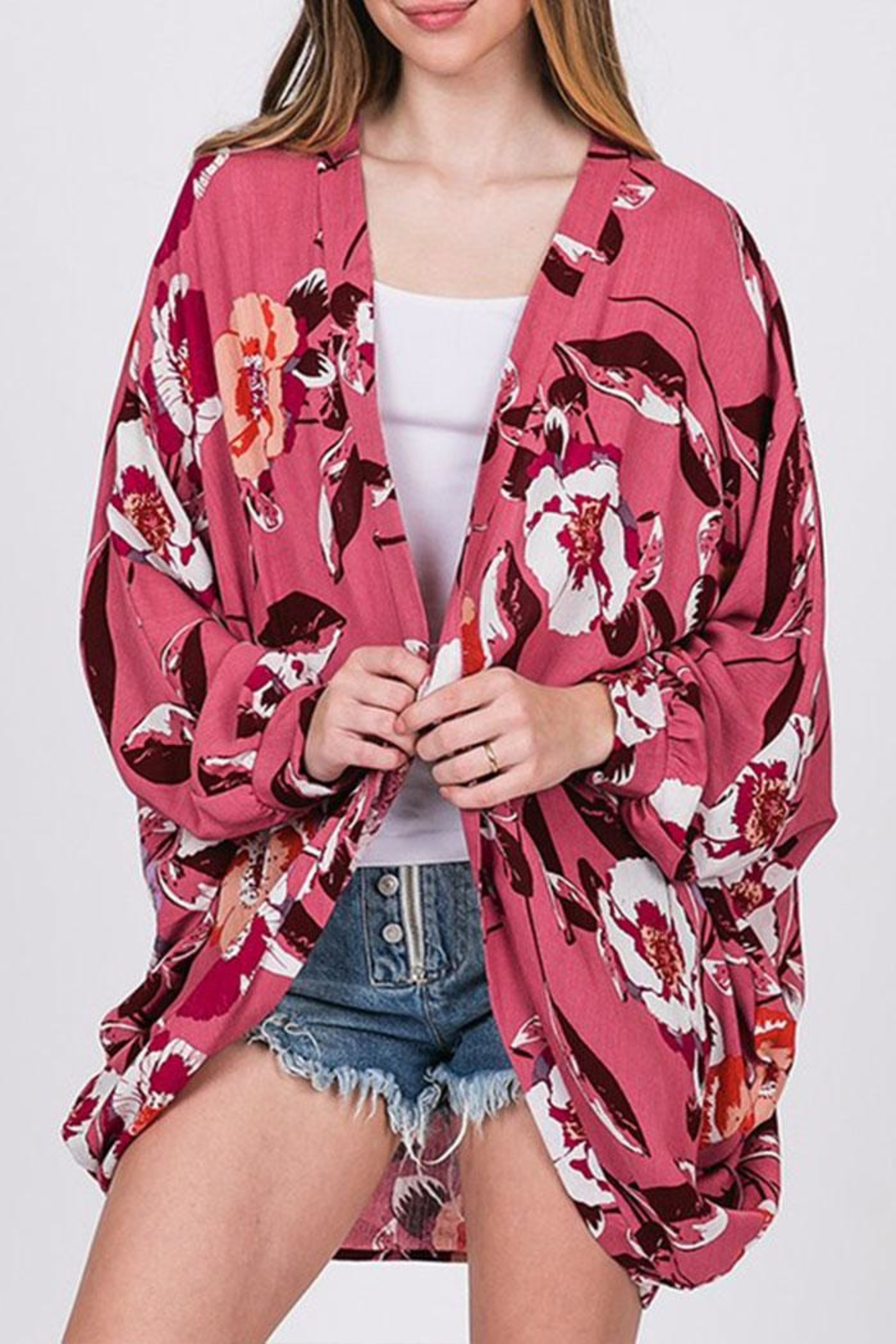 CY Fashion Floral Open-Front Cardigan - Back Cropped Image