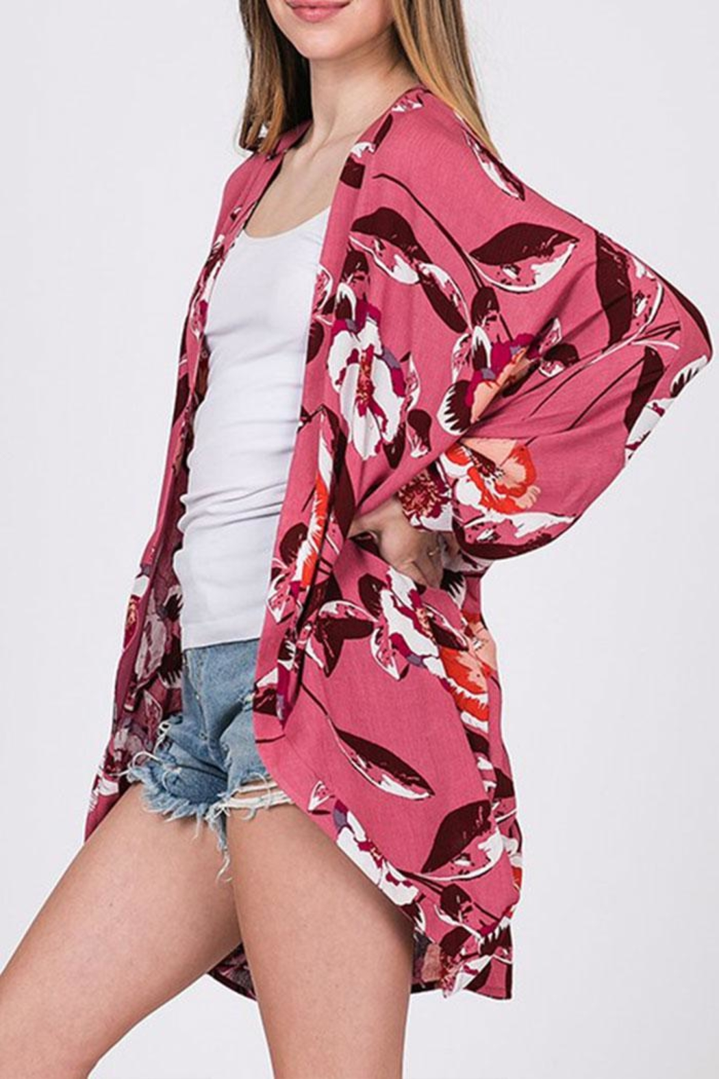 CY Fashion Floral Open-Front Cardigan - Front Full Image