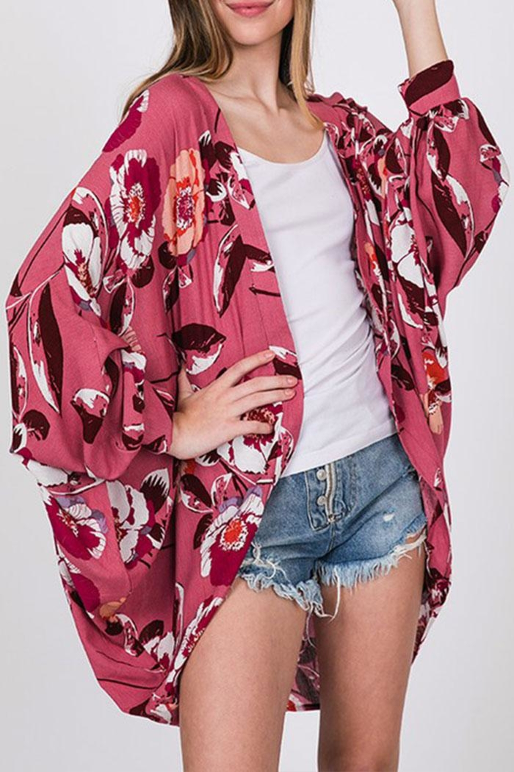 CY Fashion Floral Open-Front Cardigan - Main Image