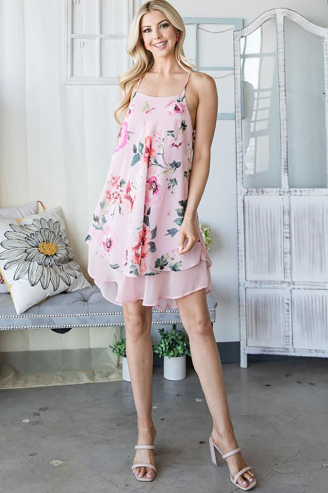CY Fashion Floral Tank Top Dress - Front Full Image