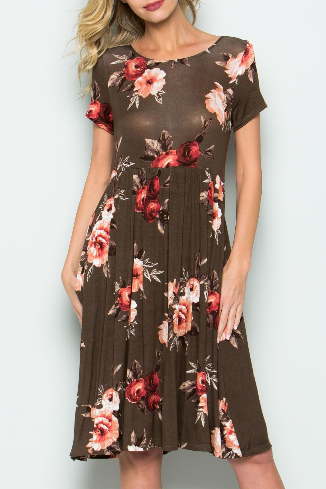 CY Fashion Flower Cage Back Dress - Front Full Image