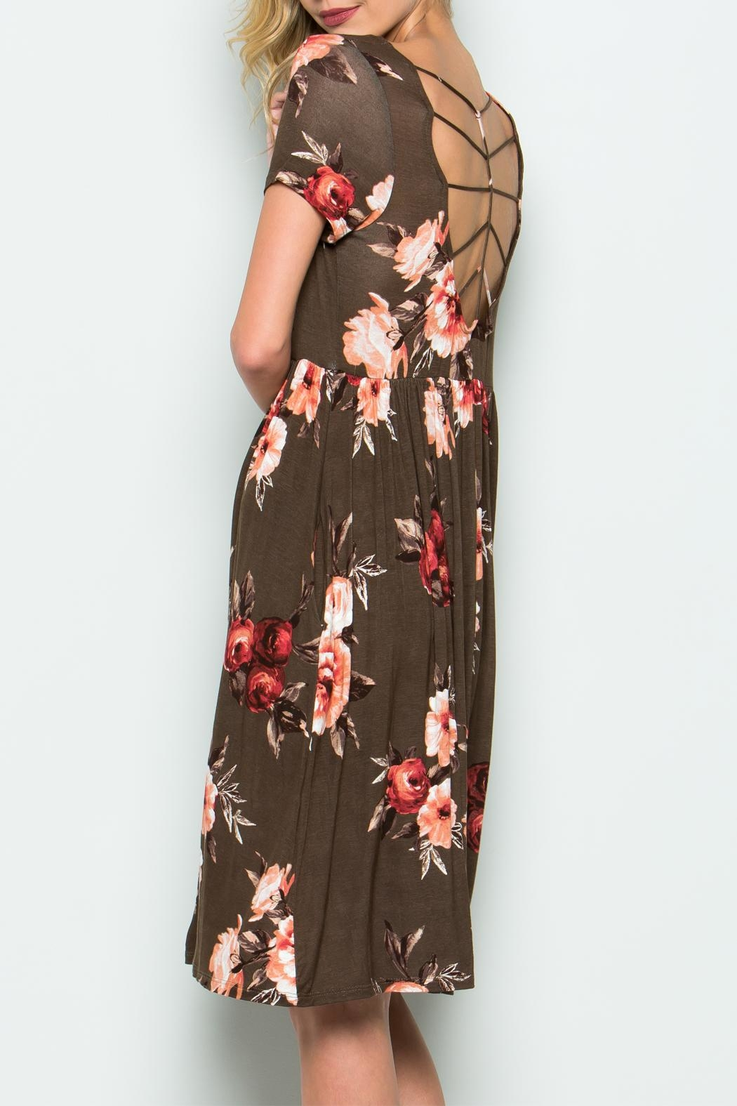CY Fashion Flower Cage Back Dress - Side Cropped Image