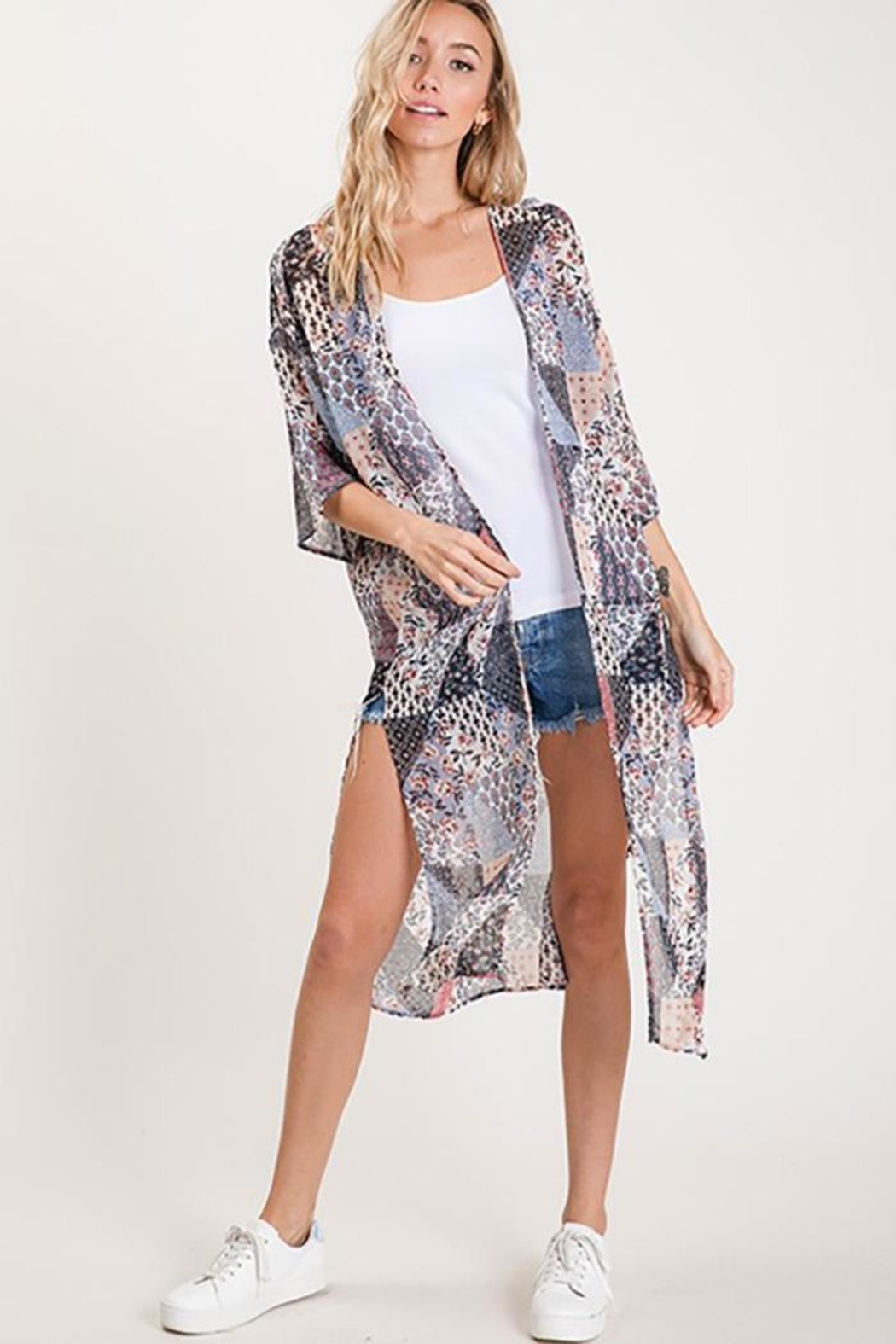 CY Fashion Flower Front Open Chiffon Cardigan - Back Cropped Image