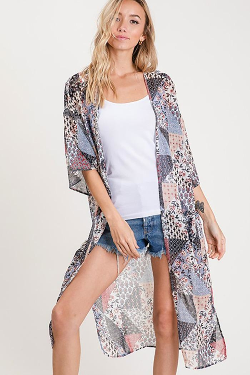 CY Fashion Flower Front Open Chiffon Cardigan - Main Image