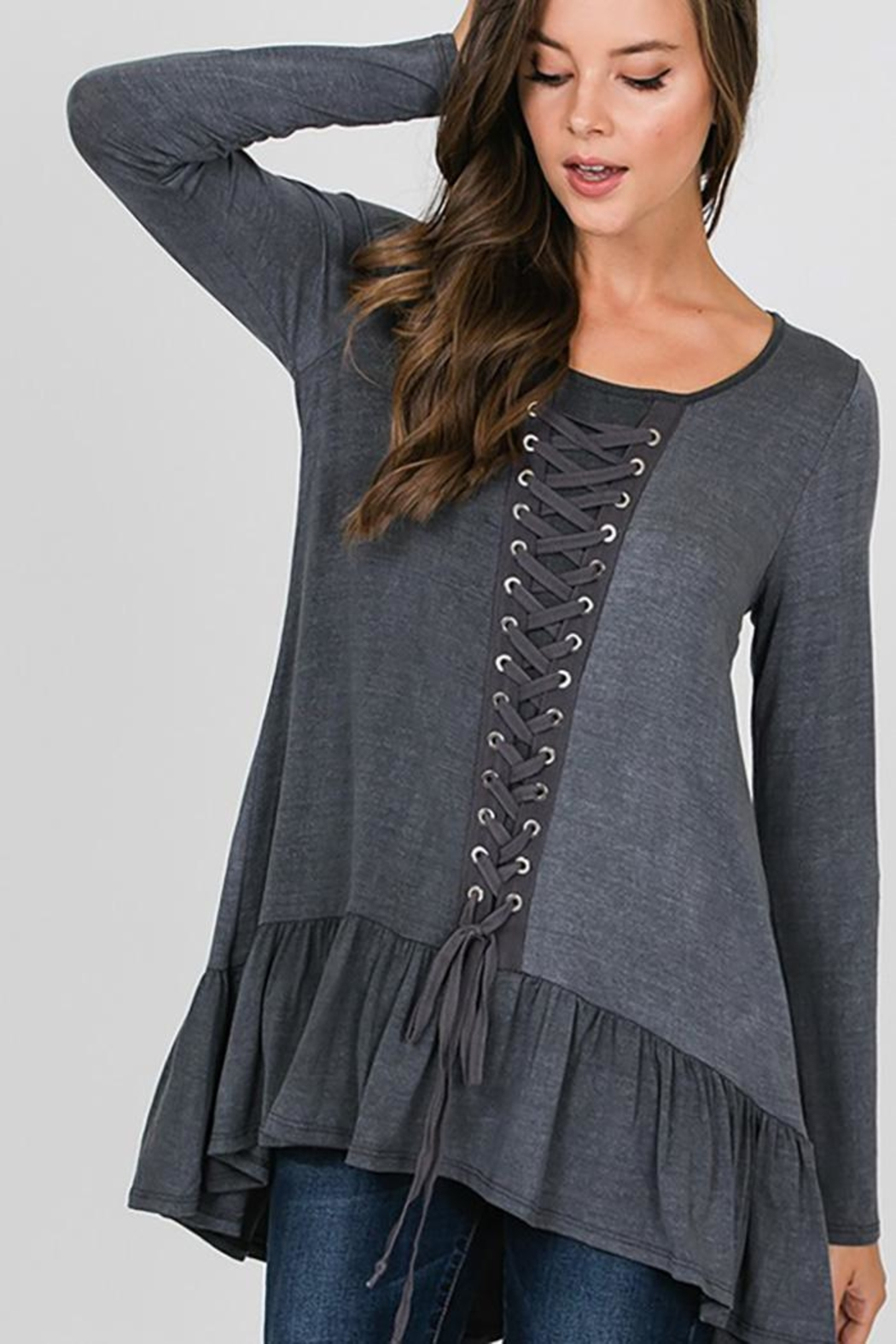 CY Fashion Grommet Lace Up Long Sleeve - Back Cropped Image