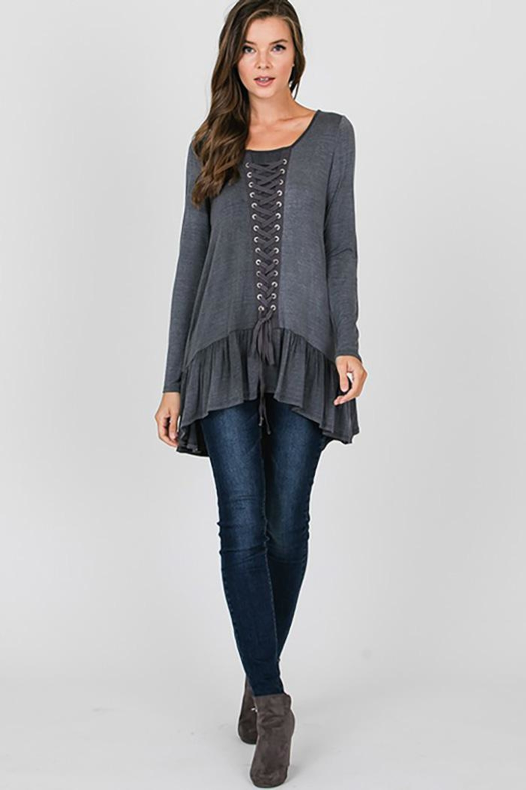 CY Fashion Grommet Lace Up Long Sleeve - Main Image