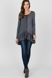 CY Fashion Grommet Lace Up Long Sleeve - Front cropped