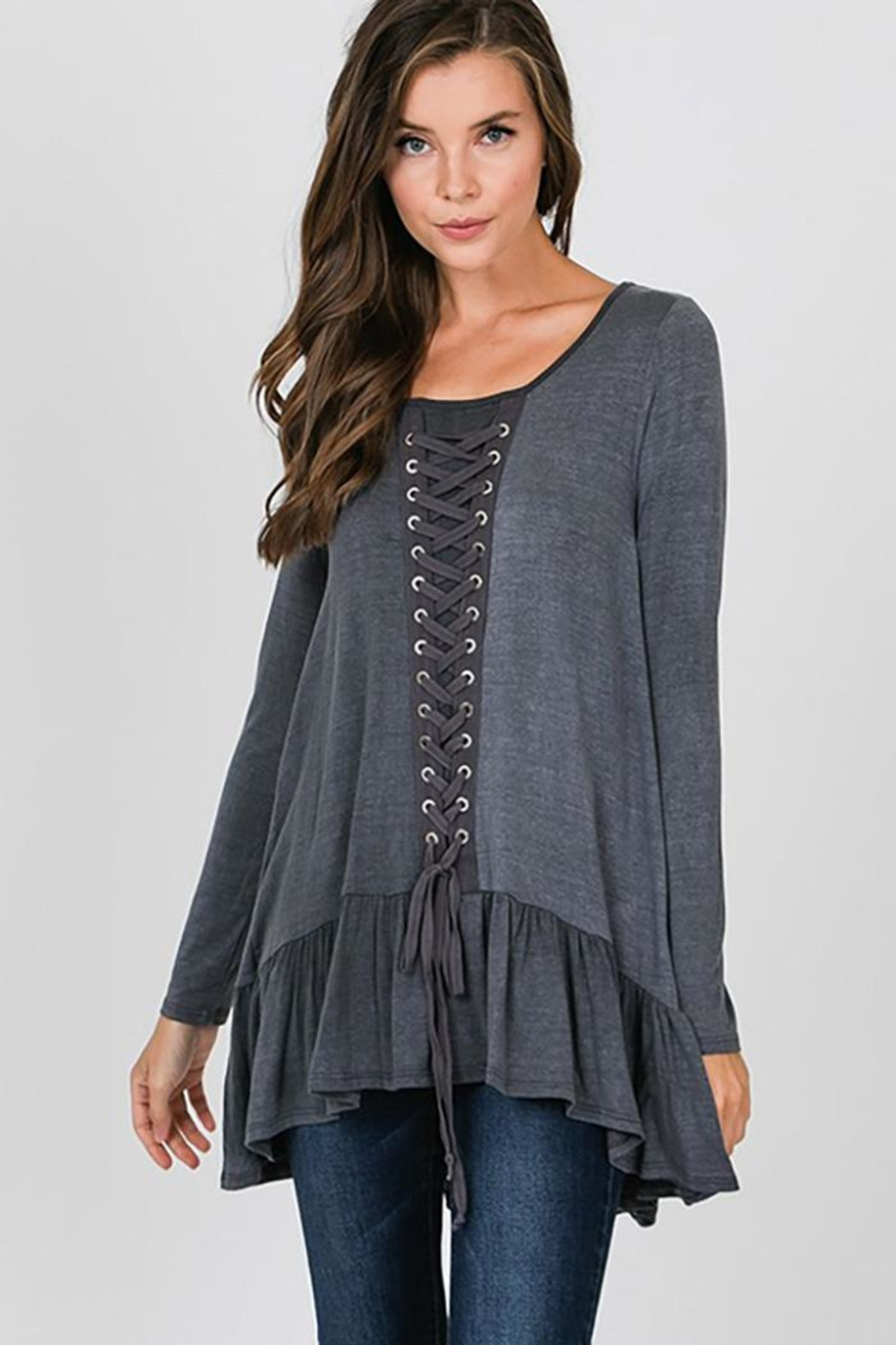 CY Fashion Grommet Lace Up Long Sleeve - Front Full Image