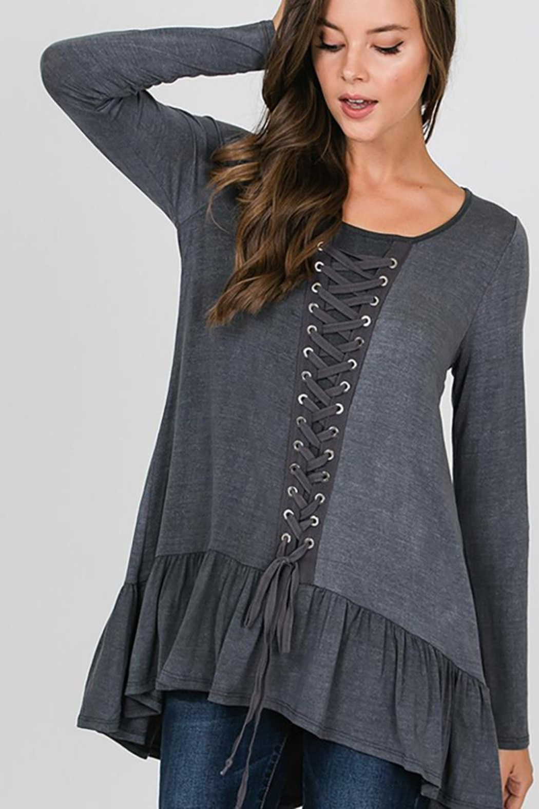 CY Fashion Grommet Lace Up Long Sleeve Top - Front Full Image