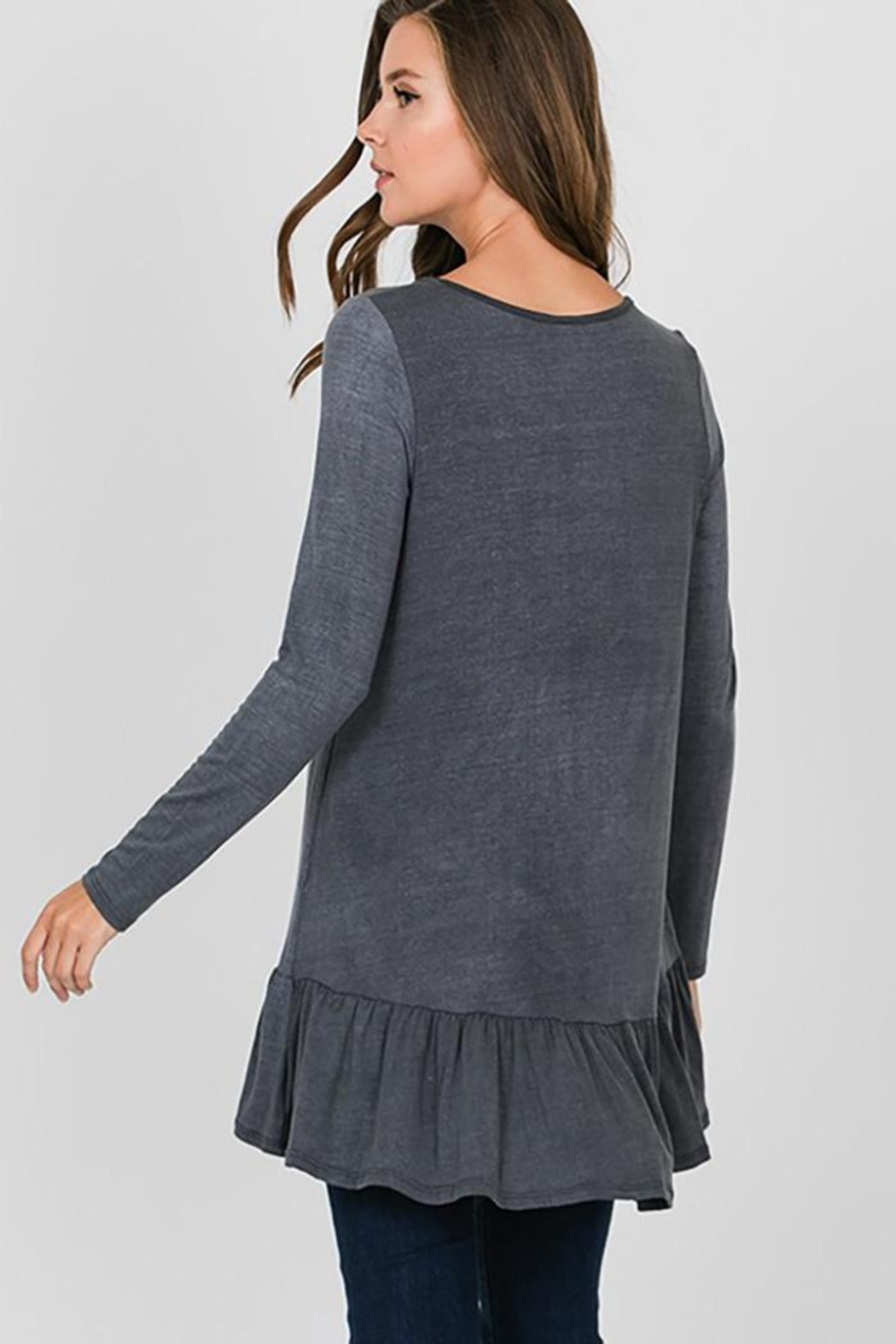 CY Fashion Grommet Lace Up Long Sleeve Top - Side Cropped Image
