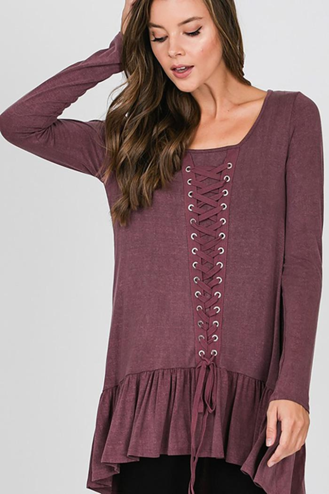 CY Fashion Grommet Lace Up Long Sleeve Top - Main Image
