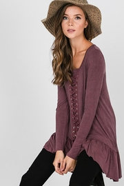 CY Fashion Grommet Lace Up Long Sleeve Top - Front full body