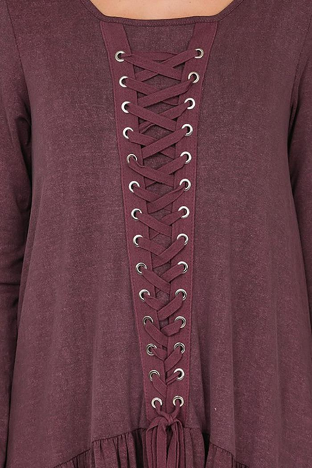 CY Fashion Grommet Lace Up Long Sleeve Top - Back Cropped Image